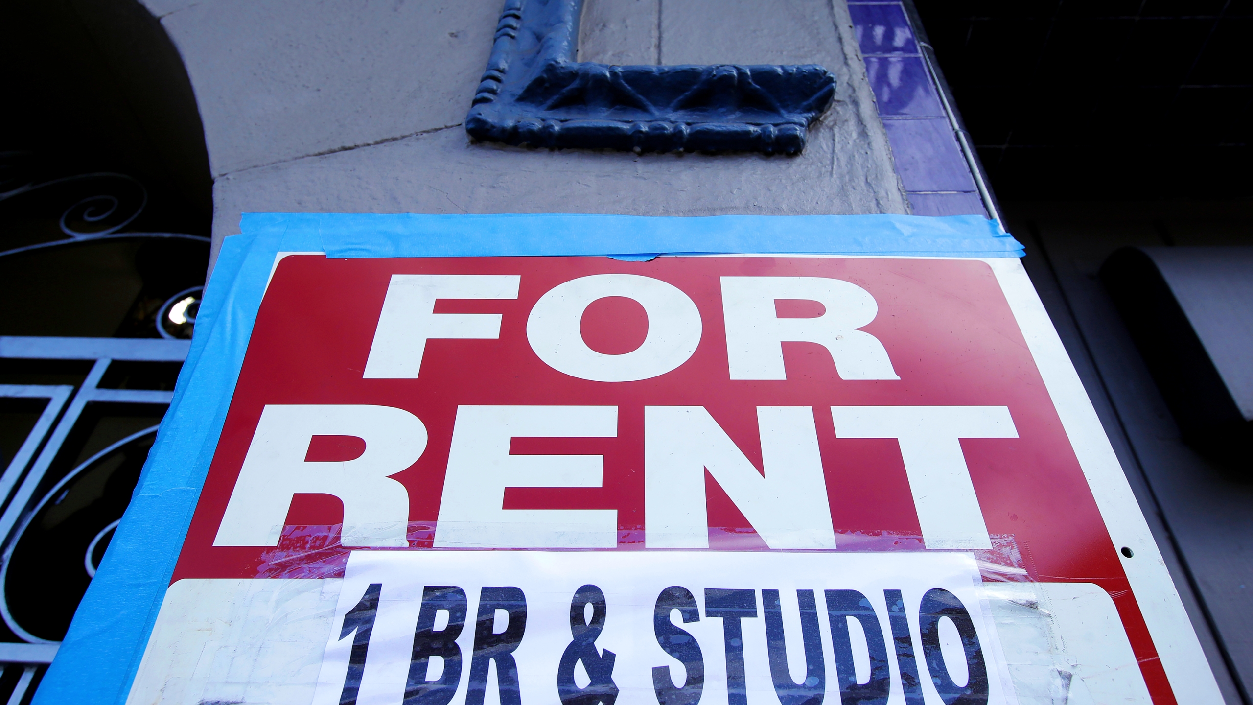 A For Rent sign is shown outside of a property in San Francisco, June 21, 2020. (Jeff Chiu/Associated Press)