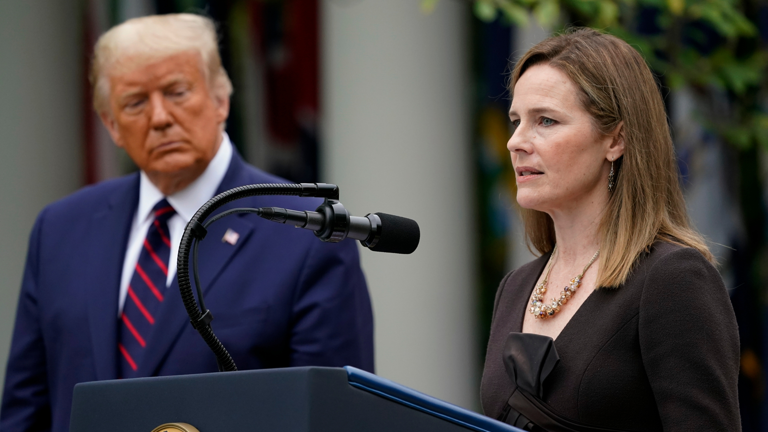 Judge Amy Coney Barrett speaks after President Donald Trump announced her as his nominee to the Supreme Court in the Rose Garden on Sept. 26, 2020. (Alex Brandon/Associated Press)