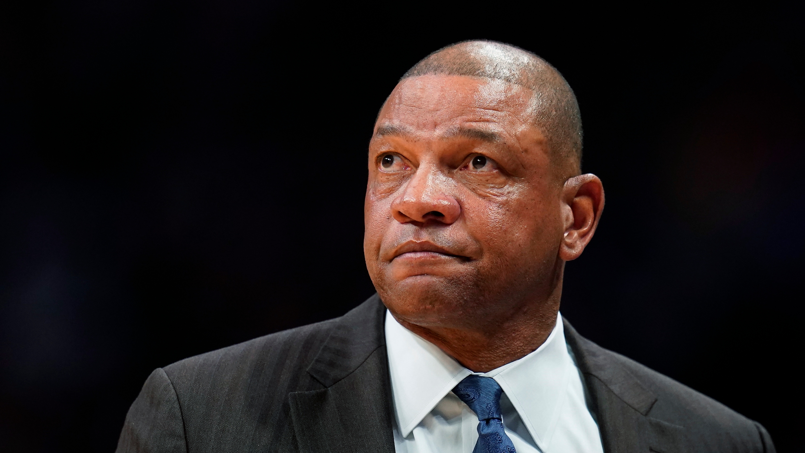 Los Angeles Clippers coach Doc Rivers watches during the team's game against the Denver Nuggets in Denver on Jan. 12, 2020. (Jack Dempsey / Associated Press)