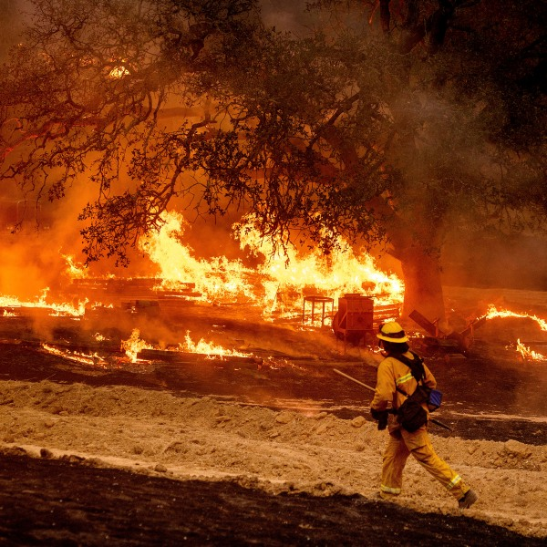 A firefighter passes flames while battling the Glass Fire in a Calistoga, Calif., vineyard Thursday, Oct. 1, 2020. (AP Photo/Noah Berger)