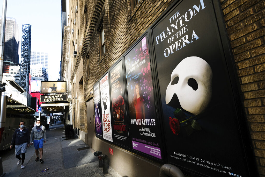 Broadway posters outside the Richard Rodgers Theatre in New York on May 13, 2020. (Evan Agostini/Invision/AP, File)