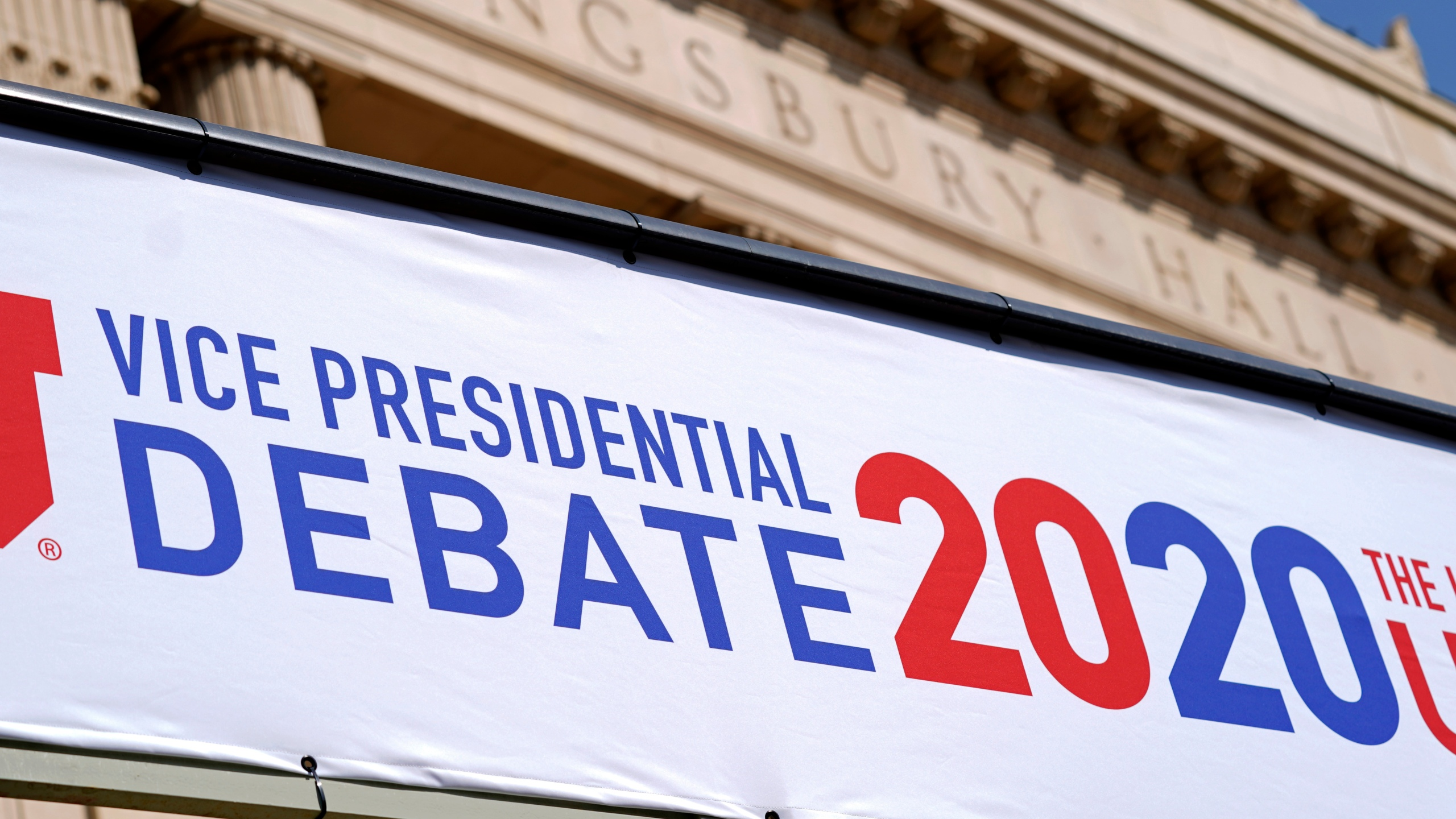 Preparations take place for the vice presidential debate outside Kingsbury Hall at the University of Utah, Monday, Oct. 5, 2020, in Salt Lake City. (AP Photo/Patrick Semansky)