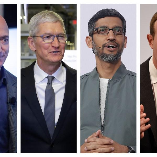 This file combination of 2019-2020 photos shows Amazon CEO Jeff Bezos, Apple CEO Tim Cook, Google CEO Sundar Pichai and Facebook CEO Mark Zuckerberg.(AP Photo/Pablo Martinez Monsivais, Evan Vucci, Jeff Chiu, Jens Meyer)