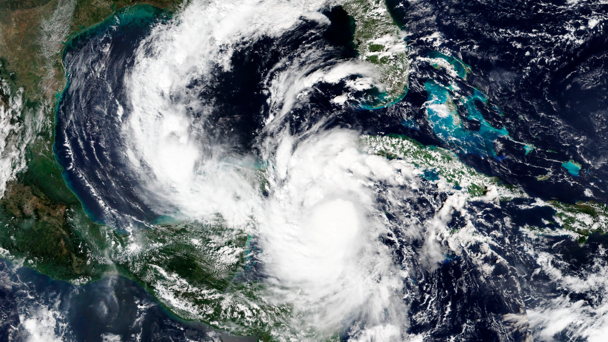 A satellite image from Oct. 6, 2020, released by NASA shows a strengthening Hurricane Delta. (NASA via AP)