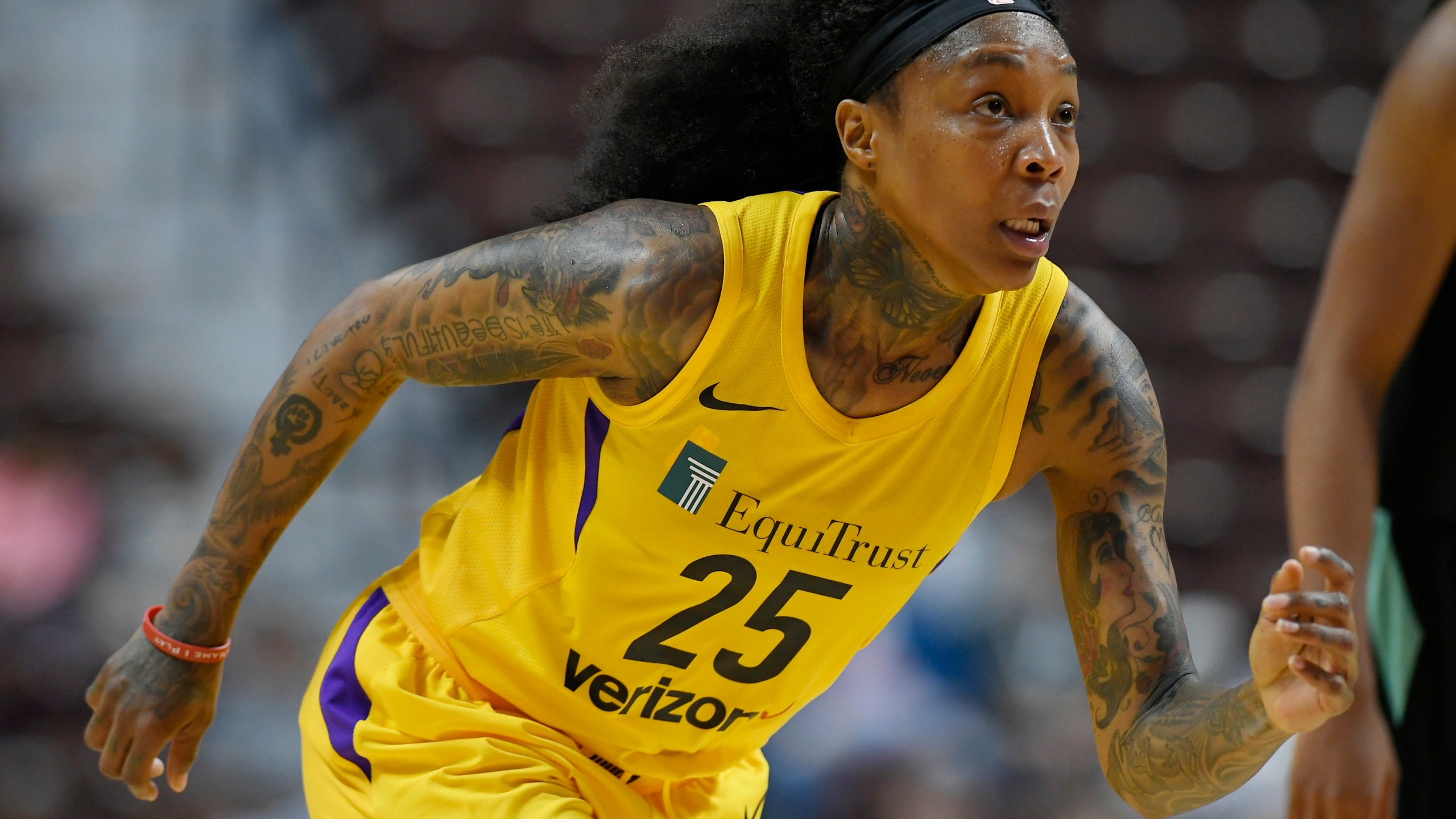 In this May 8, 2018, file photo, Los Angeles Sparks' Cappie Pondexter plays during a preseason basketball game in Uncasville, Conn. (AP Photo/Jessica Hill, File)