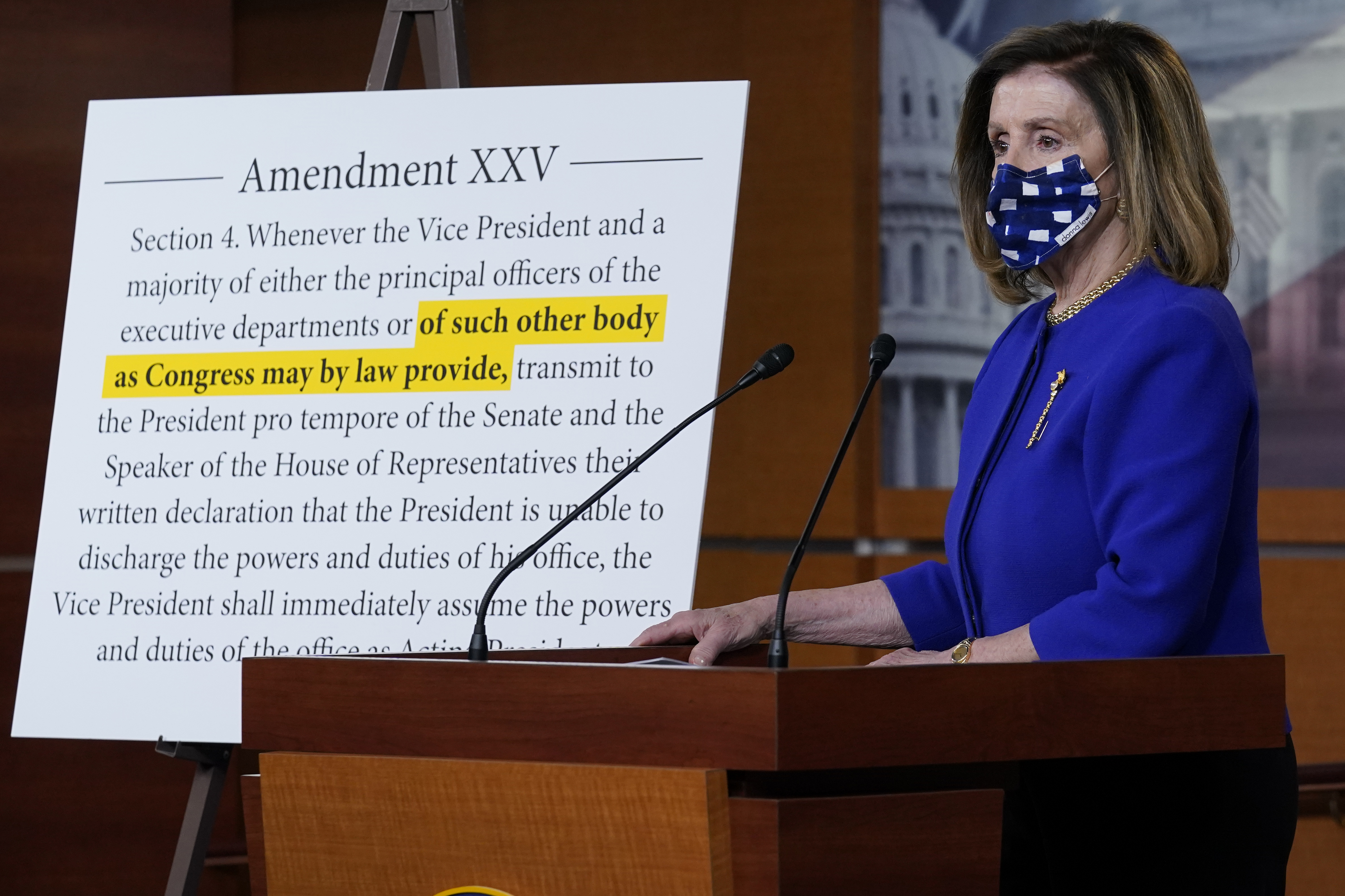 Pelosi Unveils 25th Amendment Bid But Says It S Not About Trump He Will Face The Judgment Of Voters Ktla