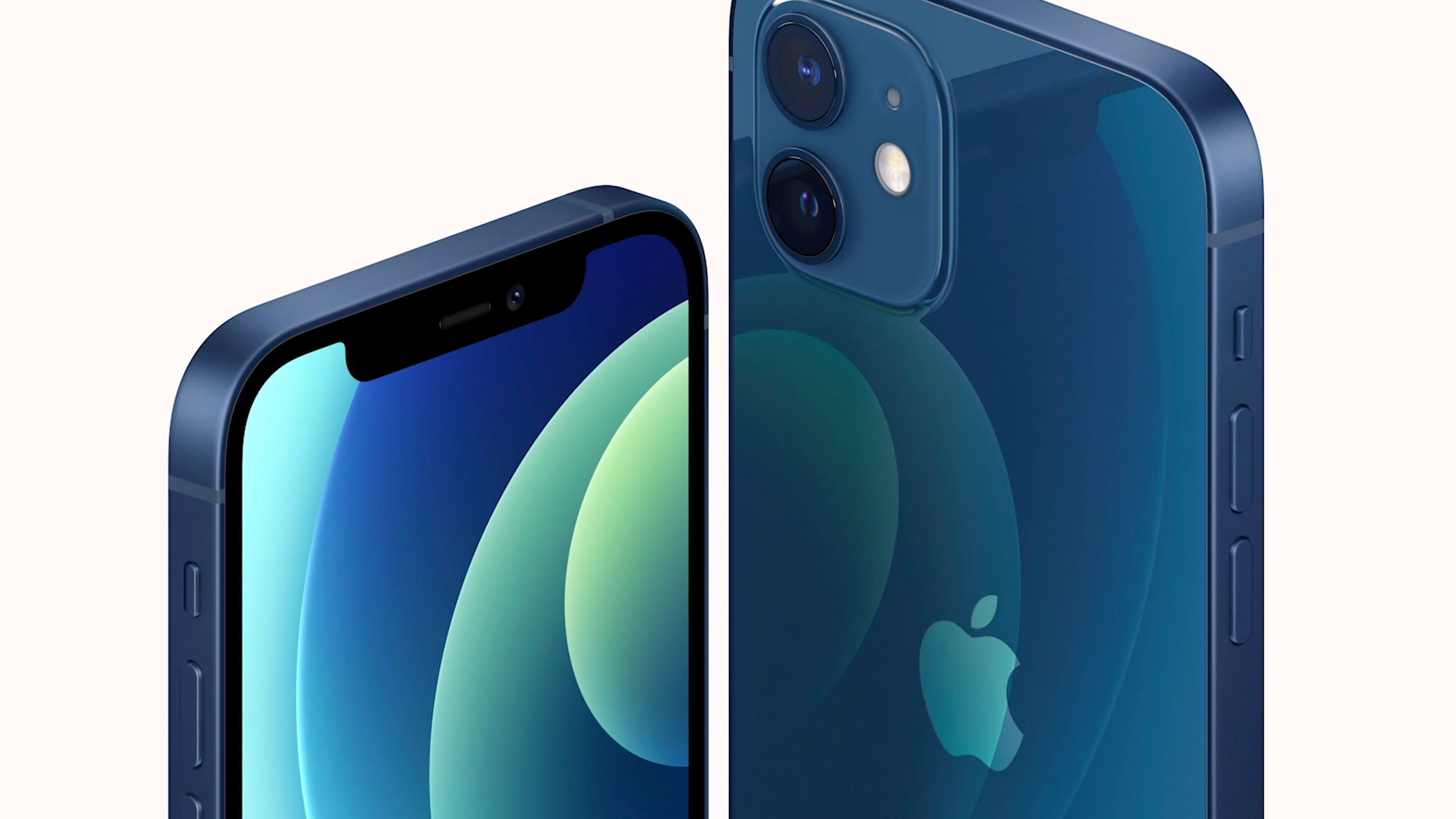 This image provided by Apple shows one of the new iPhone 12 equipped with technology for use with faster new 5G wireless networks that Apple unveiled Oct. 13, 2020.