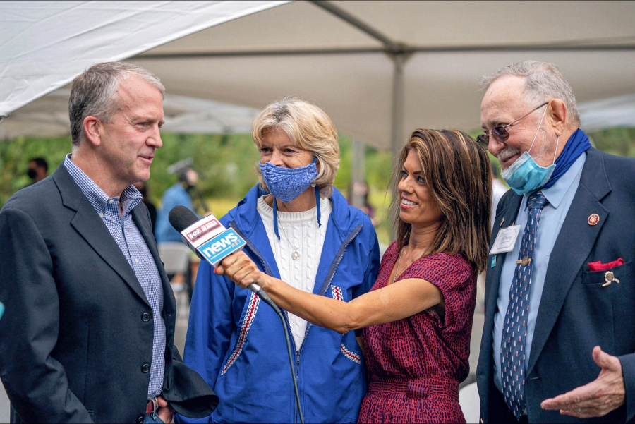TV reporter Maria Athens interviews Alaska's congressional delegation at an event celebrating the opening of an Indian Affairs Cold Case Office on Aug. 26, 2020, at the Alaska Native Heritage Center in Anchorage. From left, Sen. Dan Sullivan, Sen. Lisa Murkowski, Athens, and Rep. Don Young. (Loren Holmes / Anchorage Daily News via Associated Press)