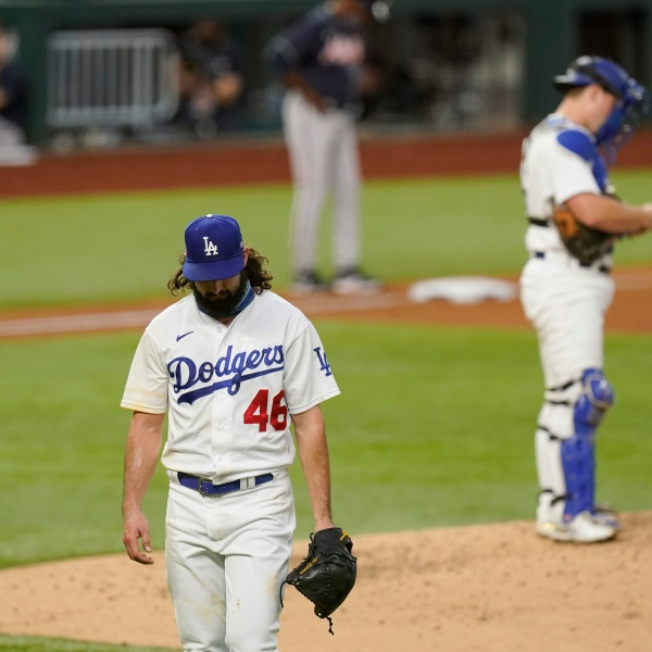 Los Angeles Dodgers starting pitcher Tony Gonsolin leaves the game during the fifth inning in Game 2 of a baseball National League Championship Series against the Atlanta Braves on Oct. 13, 2020, in Arlington, Texas. (Eric Gay / Associated Press)