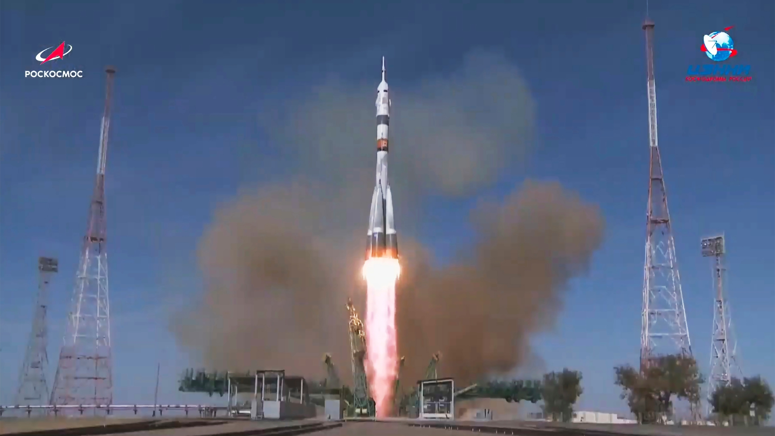 In this image made from video footage released by Roscosmos Space Agency, the Soyuz-2.1a rocket booster with Soyuz MS-17 space ship carrying a new crew to the International Space Station (ISS), blasts off at the Russian leased Baikonur cosmodrome, Kazakhstan, Wednesday, Oct. 14, 2020. (Roscosmos Space Agency via AP)