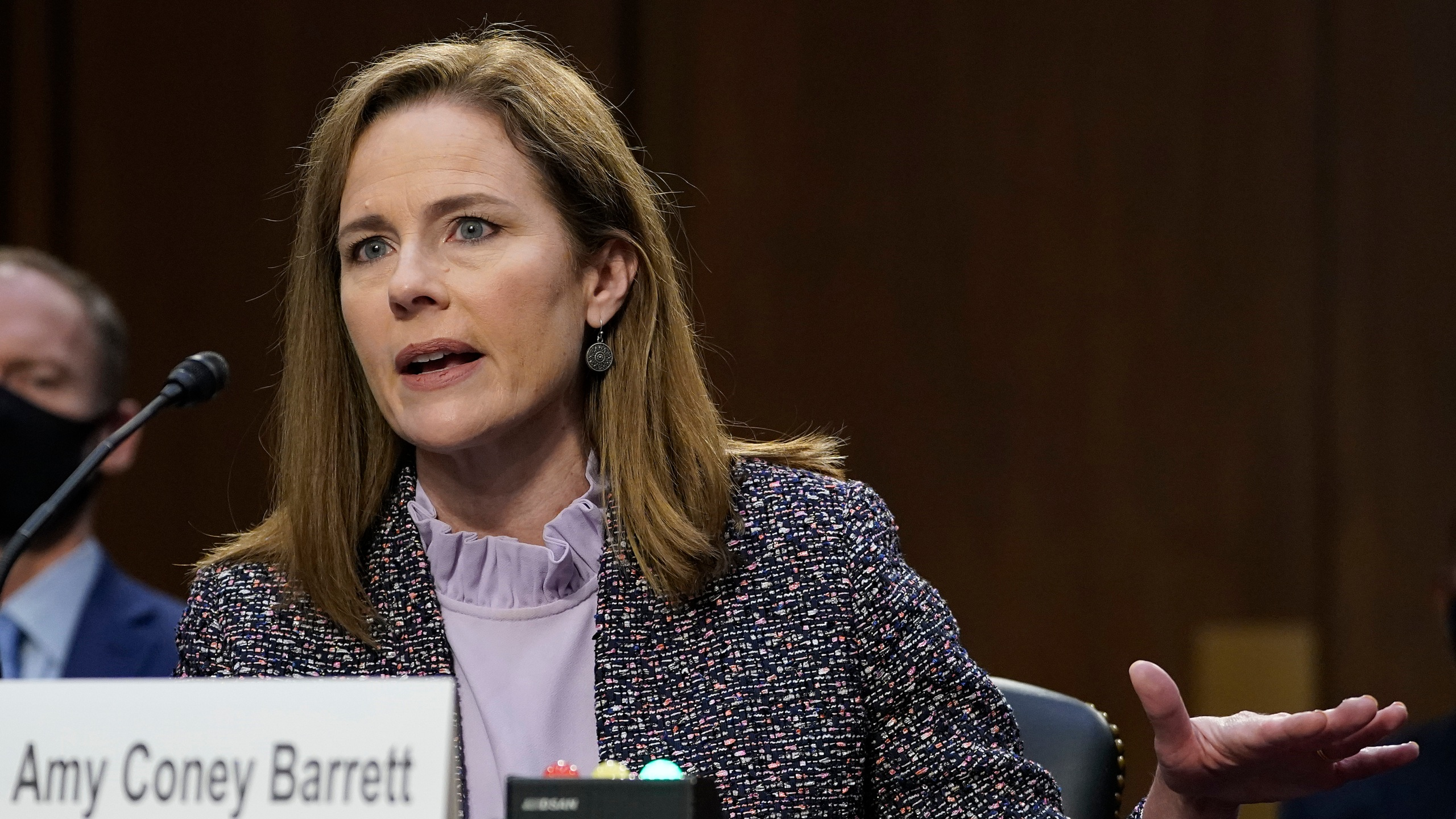 Supreme Court nominee Amy Coney Barrett testifies before the Senate Judiciary Committee during the third day of her confirmation hearings on Capitol Hill in Washington, Wednesday, Oct. 14, 2020. (Drew Angerer/Pool via AP)