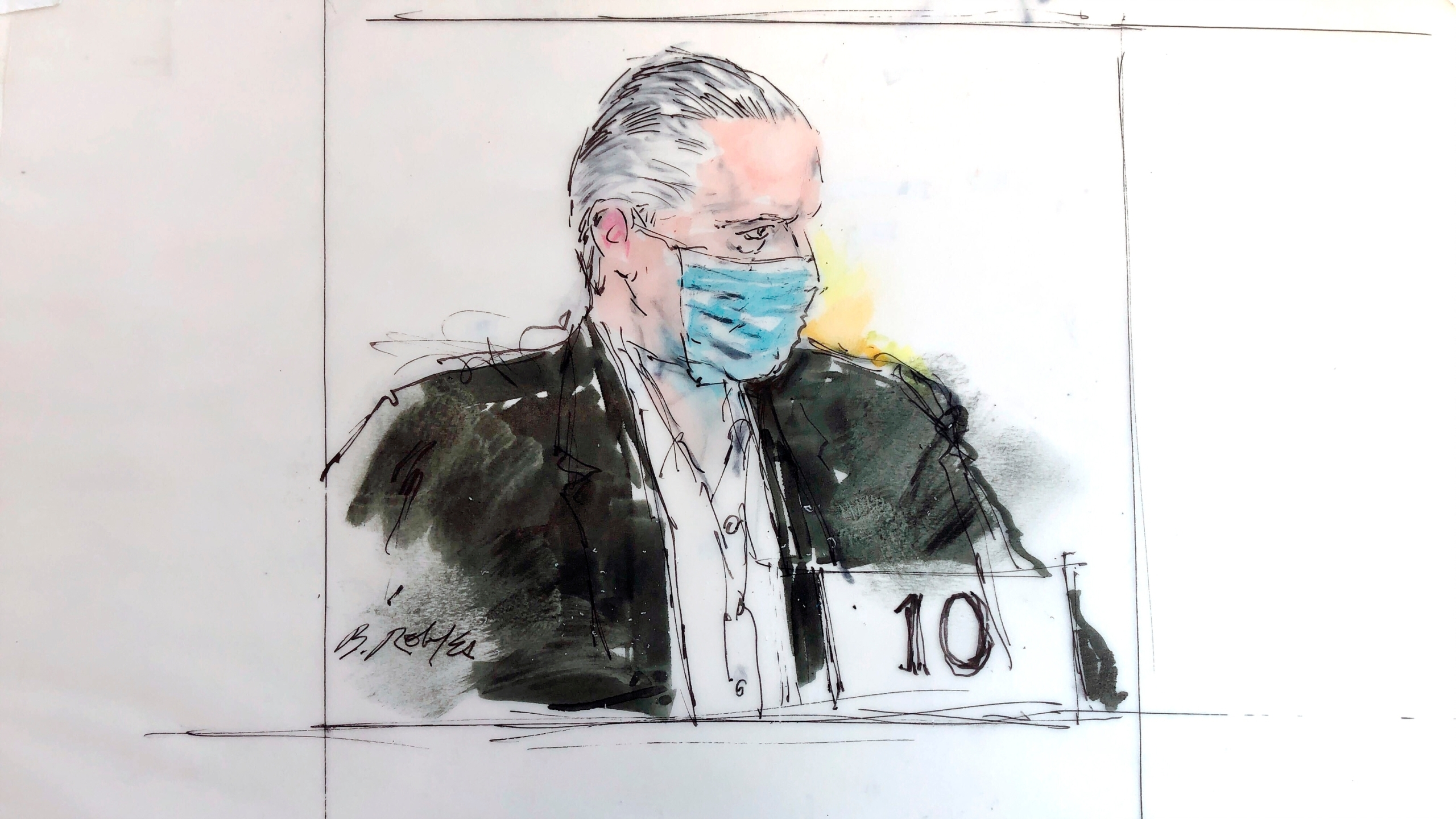 In this court artist sketch, former Mexican defense secretary Gen. Salvador Cienfuegos Zepeda's appears in federal court, Friday, Oct. 16, 2020 in Los Angeles. (Bill Robles via AP).