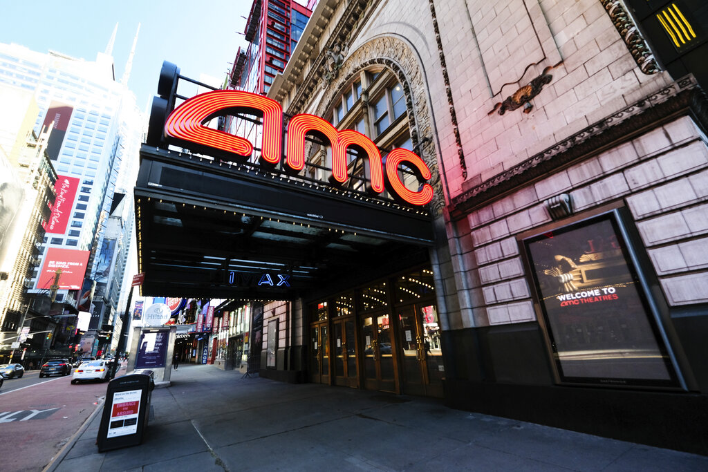 This May 13, 2020 file photo shows AMC Empire 25 theatre in Times Square in New York. (Photo by Evan Agostini/Invision/AP, File)