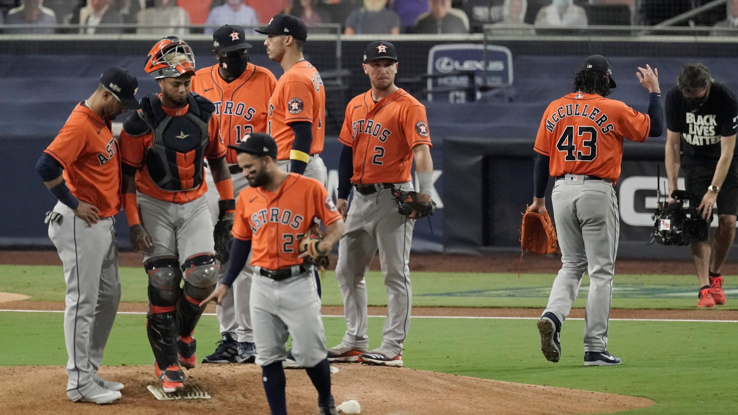 Houston Astros pitcher Lance McCullers Jr. walks off the field after being relieved during the fourth inning in Game 7 of a baseball American League Championship Series against the Tampa Bay Rays, Saturday, Oct. 17, 2020, in San Diego. (AP Photo/Jae C. Hong)