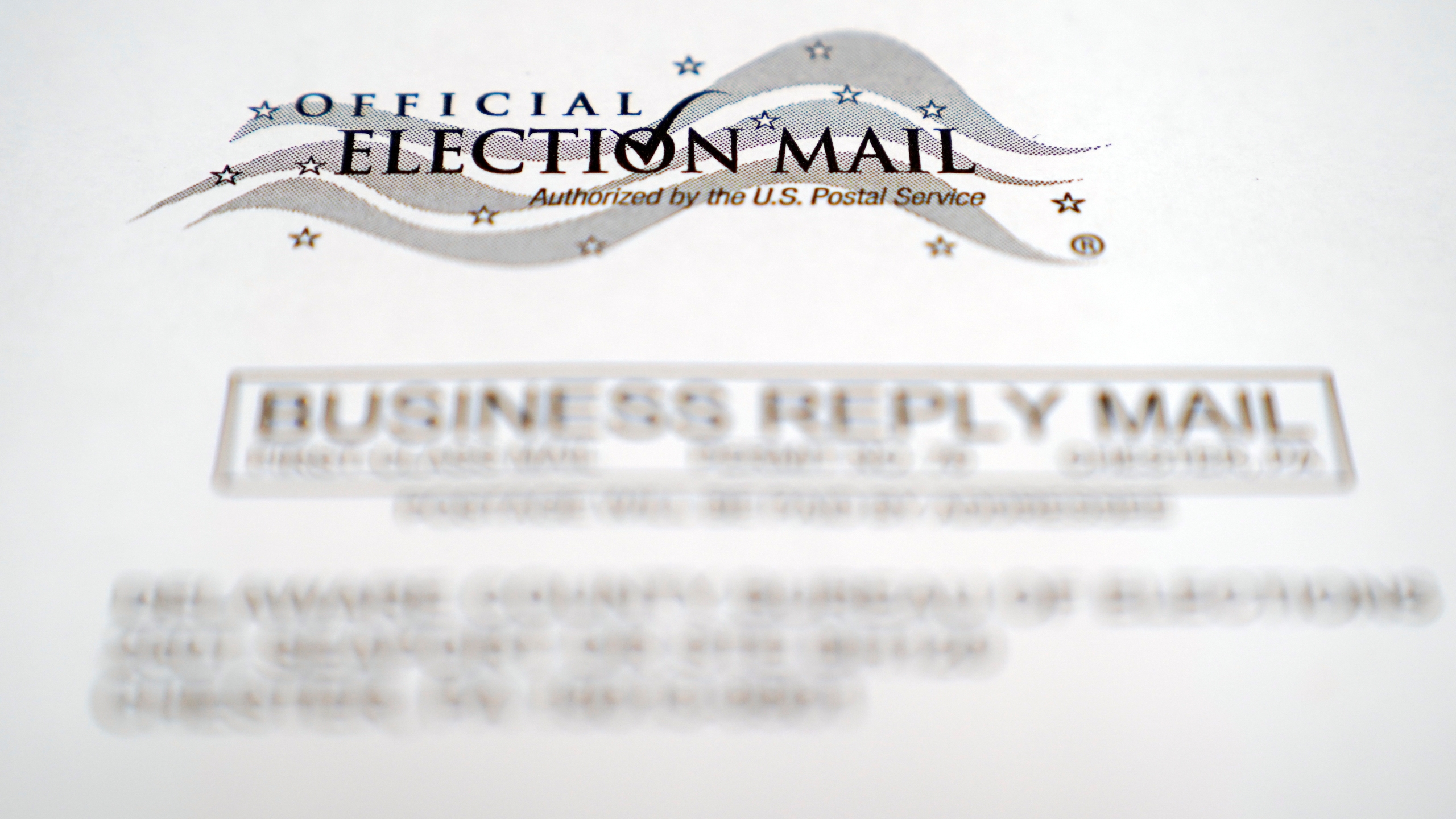 In this Oct. 13, 2020, photo, an envelope of a Pennsylvania official mail-in ballot for the 2020 general election in Marple Township, Pa. (AP Photo/Matt Slocum)