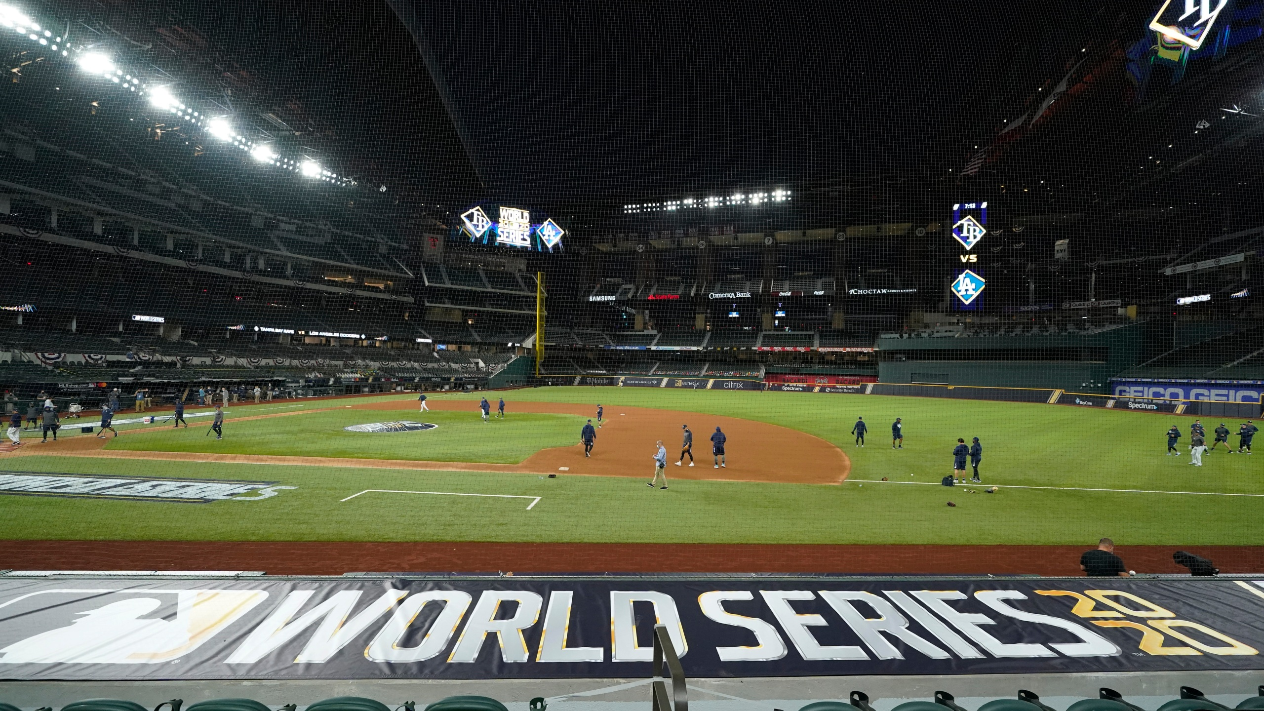 The Tampa Bay Rays practice at Globe Life Field as the team prepares for the baseball World Series against the Los Angeles Dodgers, in Arlington, Texas, Monday, Oct. 19, 2020. (AP Photo/Eric Gay)