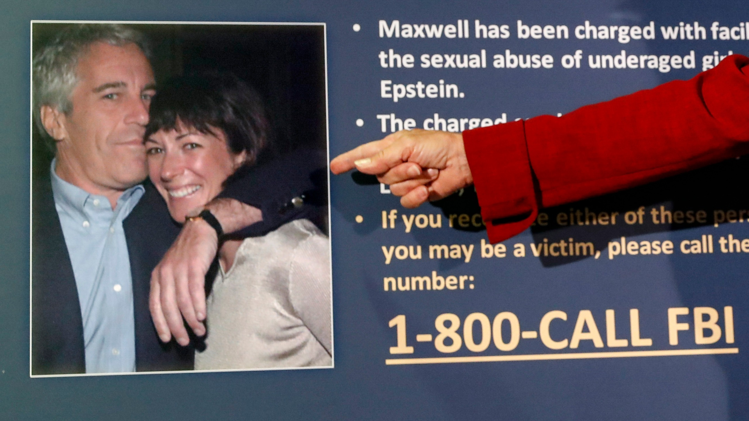 "In this July 2, 2020, file photo, Audrey Strauss, acting United States Attorney for the Southern District of New York, points to a photo of Jeffrey Epstein and Ghislaine Maxwell during a news conference, in New York. Transcripts released Thursday show the ex-girlfriend of financier Jeffrey Epstein was combative and defensive under tough questioning four years ago about her ex-boyfriend's interactions with underage girls. Ghislaine Maxwell said she ""never saw any inappropriate underage activities with Jeffrey ever."" (AP Photo/John Minchillo, File)"