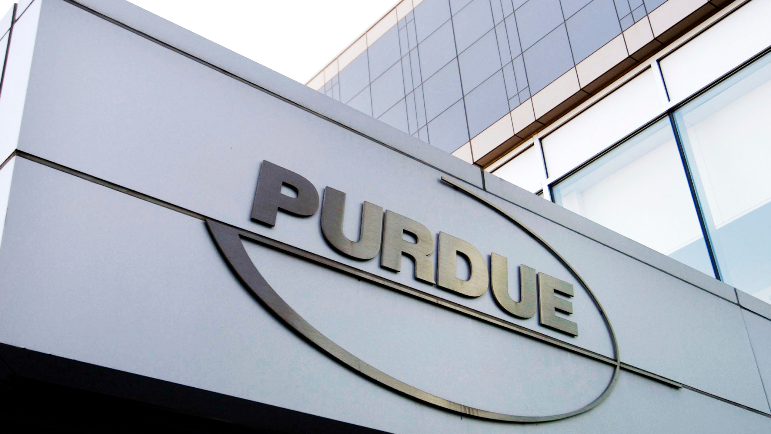 This Tuesday, May 8, 2007, file photo shows the Purdue Pharma logo at its offices in Stamford, Conn. (Douglas Healey/AP)