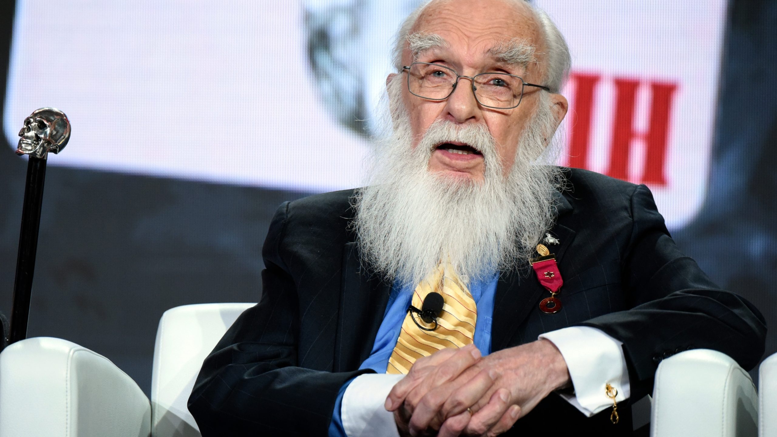 "Magician James Randi participates in the ""An Honest Liar"" panel at the PBS Winter TCA in Pasadena on Jan. 18, 2016. (Richard Shotwell / Invision / Associated Press)"
