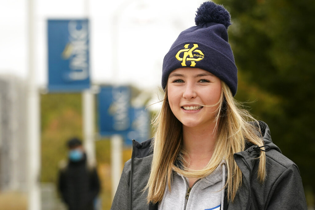 Madison Zurmuehlen poses for a photo on the University of Missouri-Kansas City campus in Kansas City on Oct. 23, 2020. (AP Photo/Orlin Wagner)