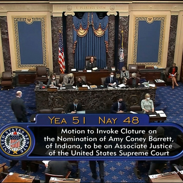 In this image from video, the vote total in the U.S. Senate to advance the nomination of Supreme Court nominee Amy Coney Barrett for a final confirmation vote at the U.S. Capitol in Washington, Sunday, Oct. 25, 2020. (Senate Television via AP)