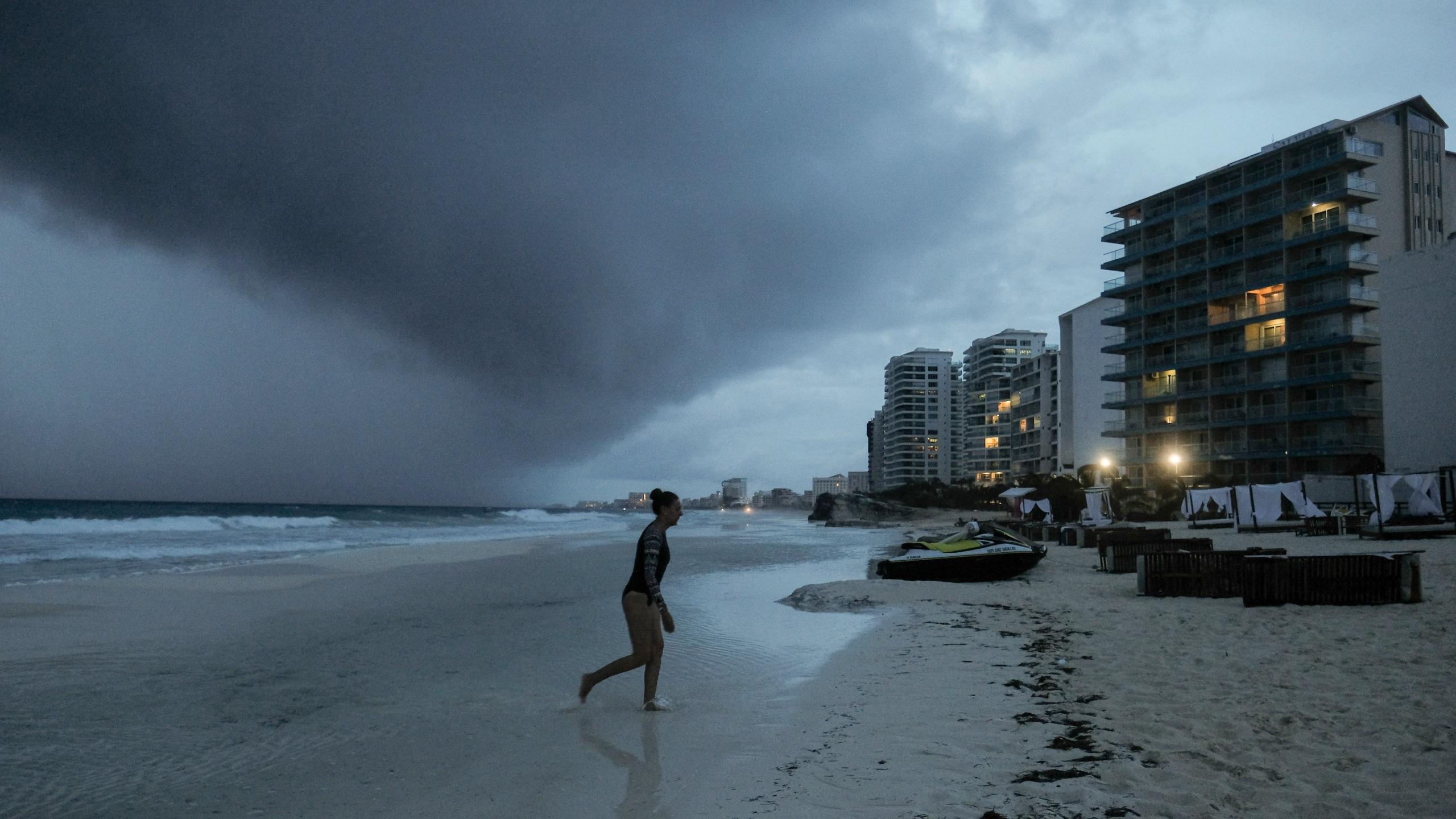 Clouds gather over Playa Gaviota Azul as Tropical Storm Zeta approaches Cancun, Mexico, Monday, Oct. 26, 2020. (Victor Ruiz Garcia/AP)
