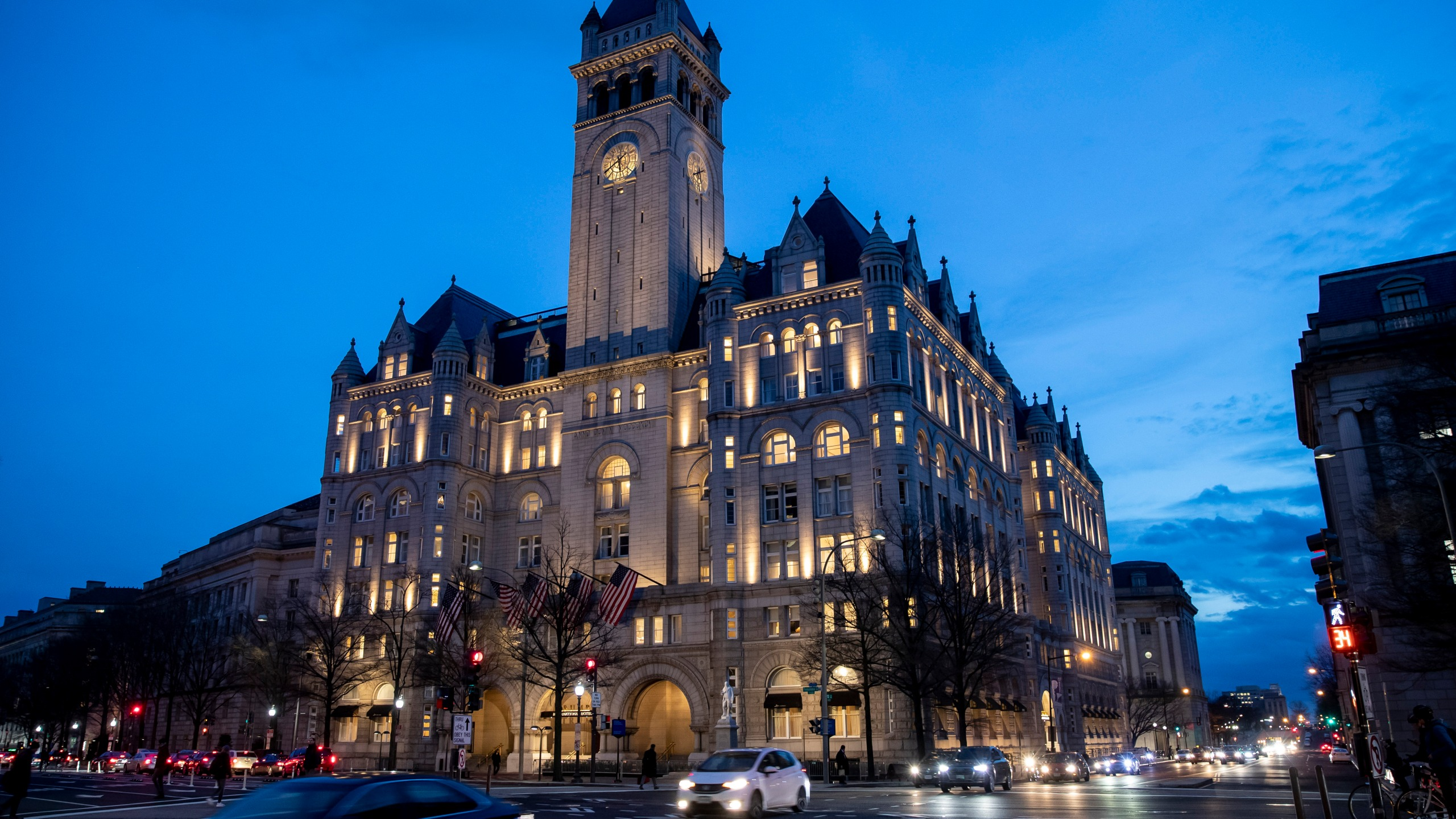 In this Jan. 23, 2019, file photo, the Trump International Hotel near sunset in Washington. (Alex Brandon/AP)