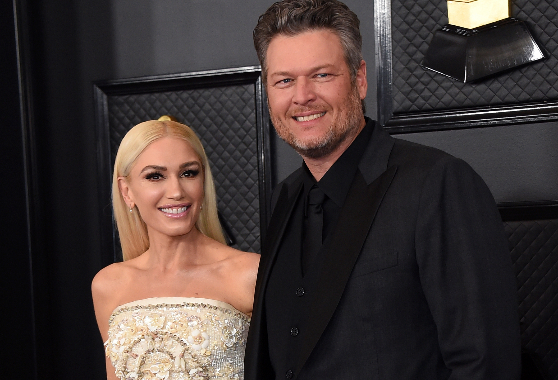 Gwen Stefani, left, and Blake Shelton arrive at the 62nd annual Grammy Awards in Los Angeles on Jan. 26, 2020. (Jordan Strauss/Invision/Associated Press)