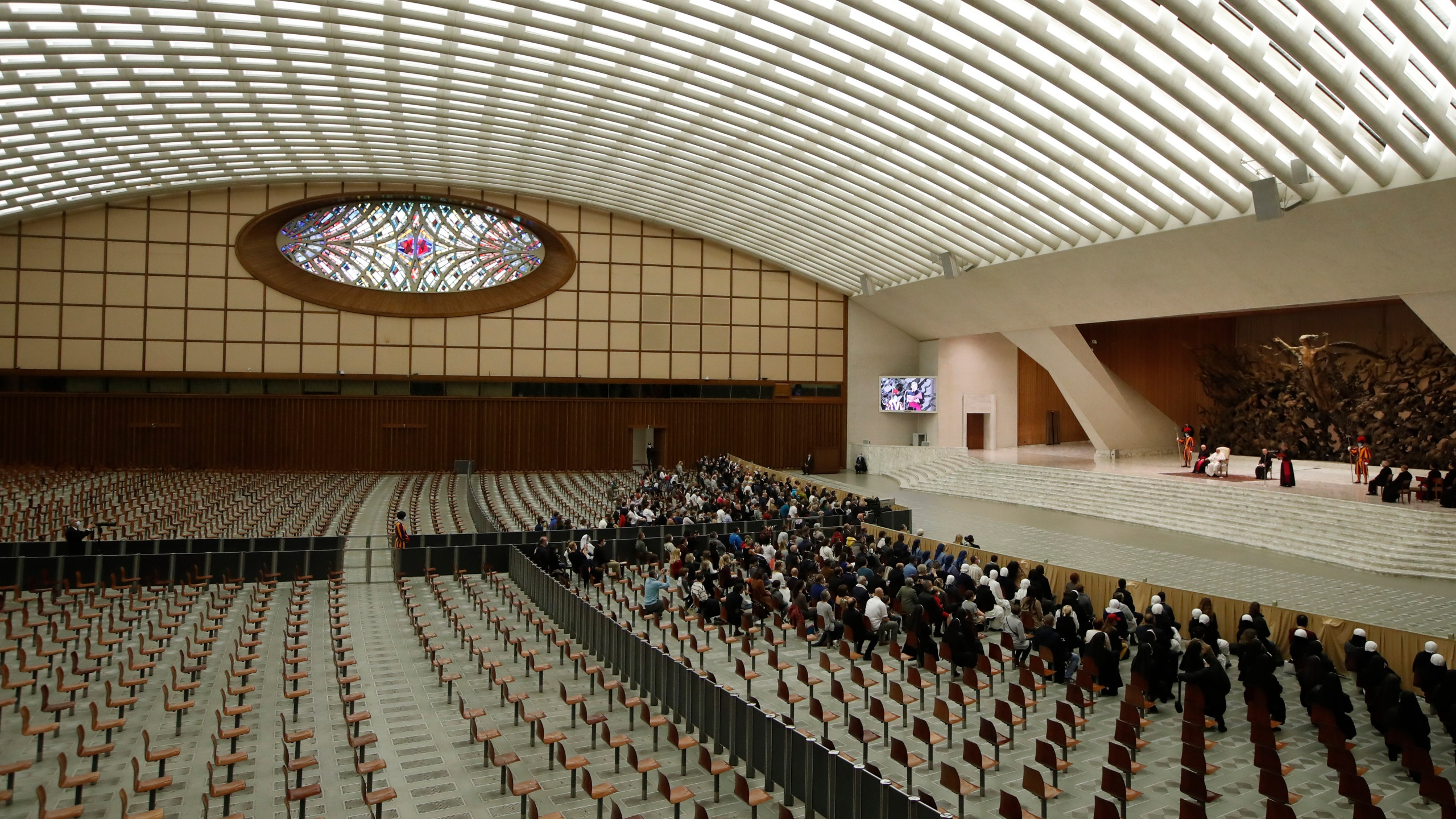 Pope Francis delivers his speech in the Paul VI Hall at the Vatican for his weekly general audience on Oct. 28, 2020. (Alessandra Tarantino/Associated Press)