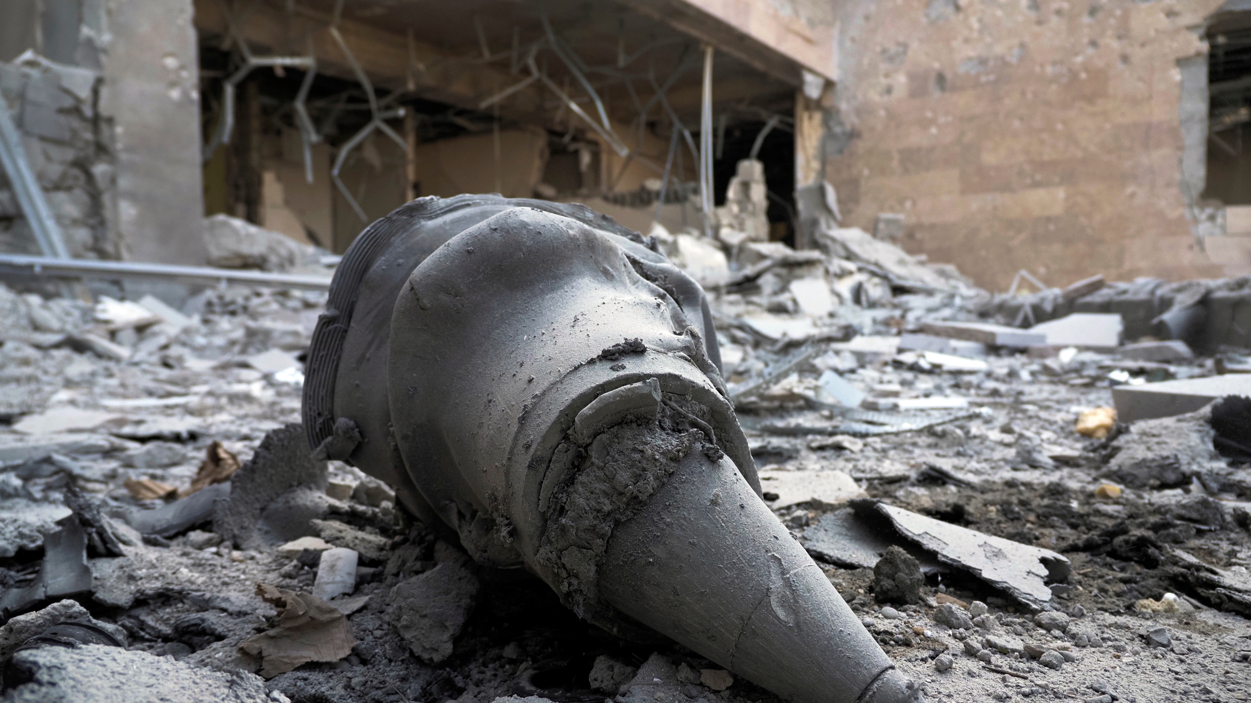 A rocket front fragment lies at a newly built natal center damaged by shelling by Azerbaijan's artillery in Stepanakert, the separatist region of Nagorno-Karabakh, on Oct. 28, 2020. (Associated Press)