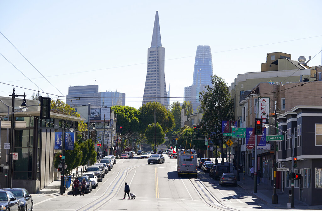 This Oct. 11, 2020, file photo shows the Transamerica Pyramid, center, and Salesforce Tower above Columbus Avenue in San Francisco. (AP Photo/Eric Risberg, File)