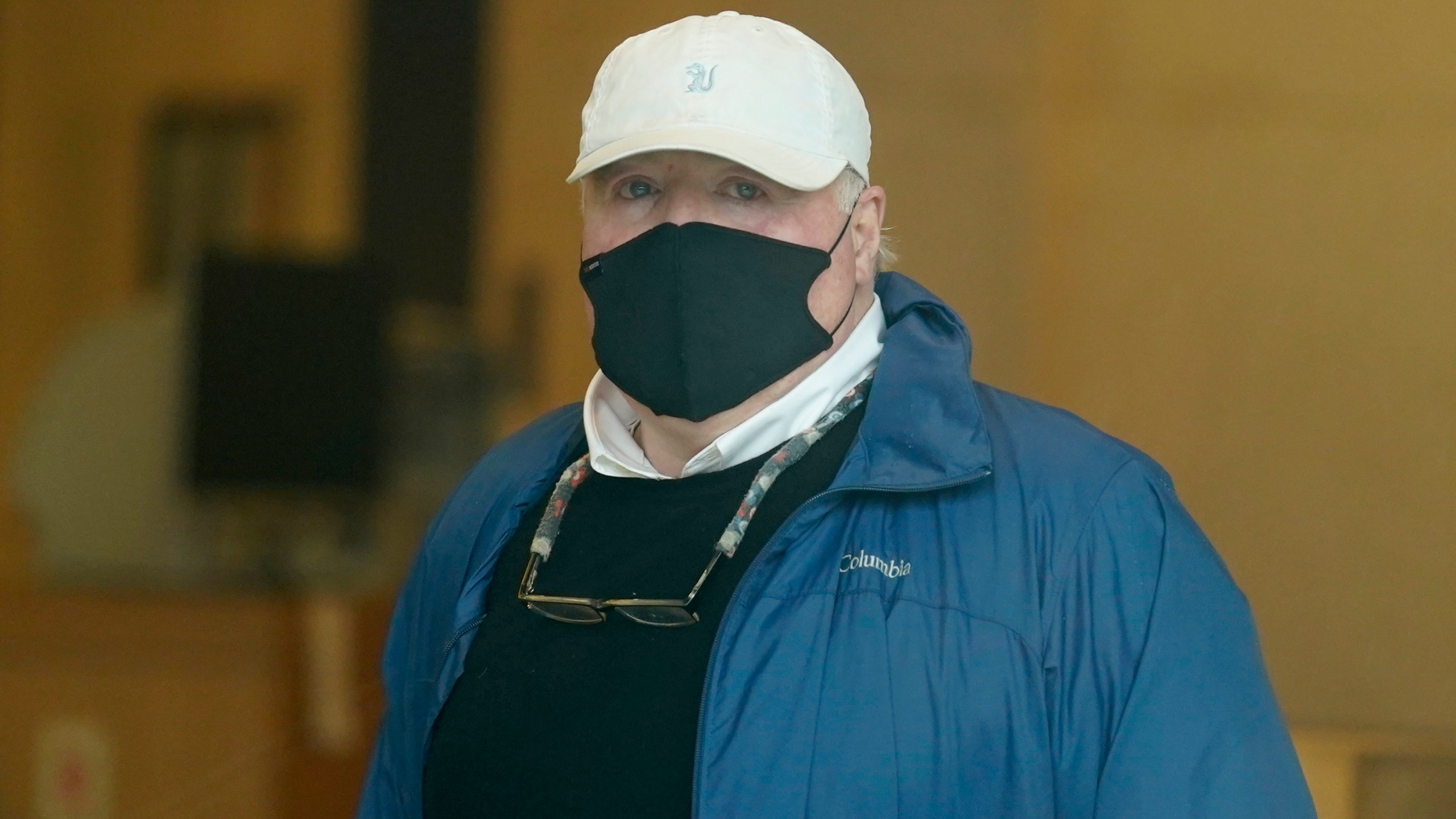 Michael Skakel arrives to a courthouse in Stamford, Conn., Friday, Oct. 30, 2020. (AP Photo/Seth Wenig)