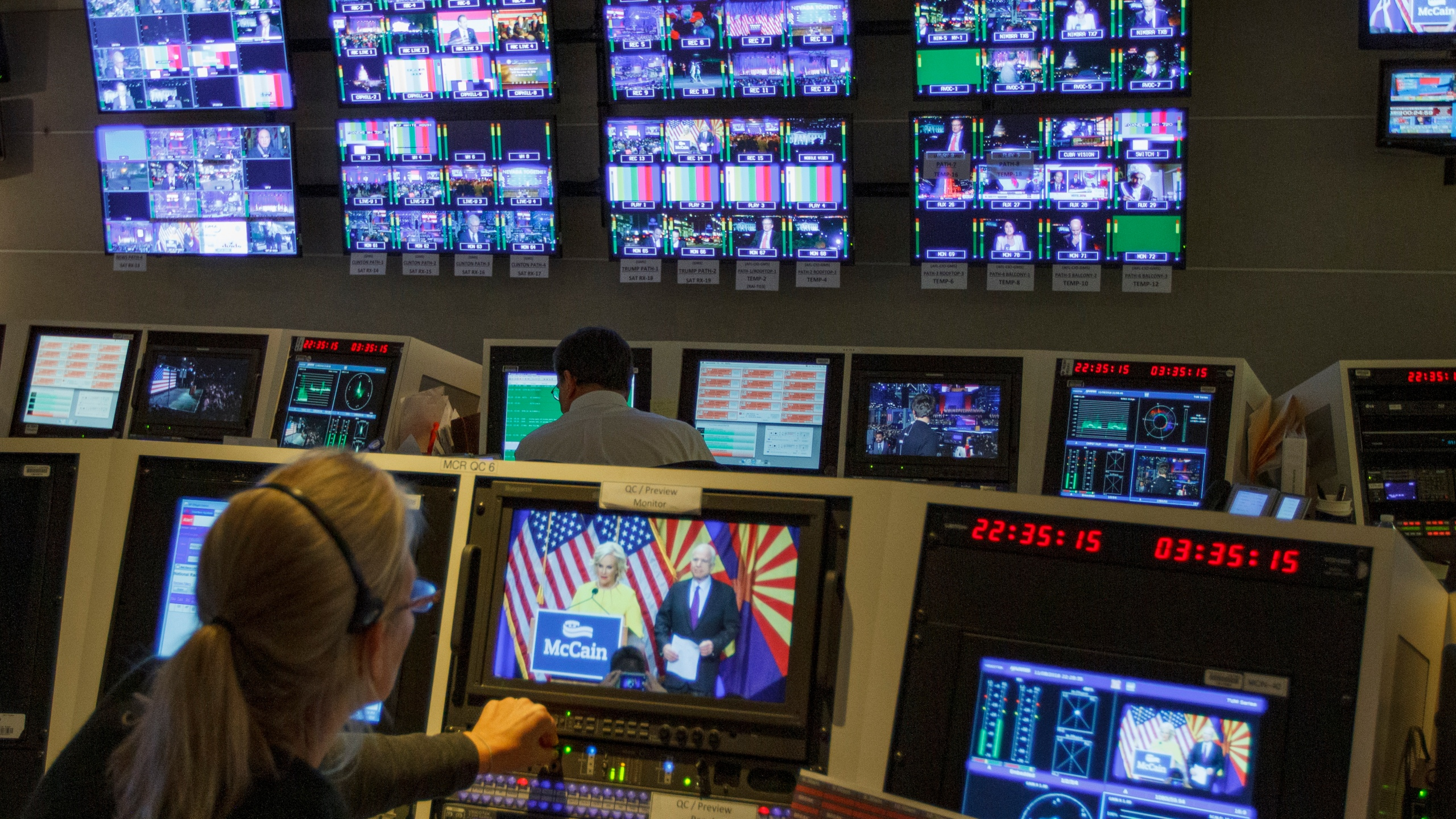 In this Nov. 8, 2016, photo, staff members of The Associated Press Television Network work in master control at the organization's Washington bureau as returns come in during election night. (Jon Elswick / Associated Press)