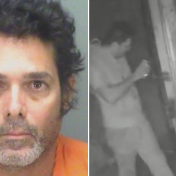 Eladio Garcia-Gasca is seen in a booking photo and surveillance video. (Manatee County Sheriff's Office)