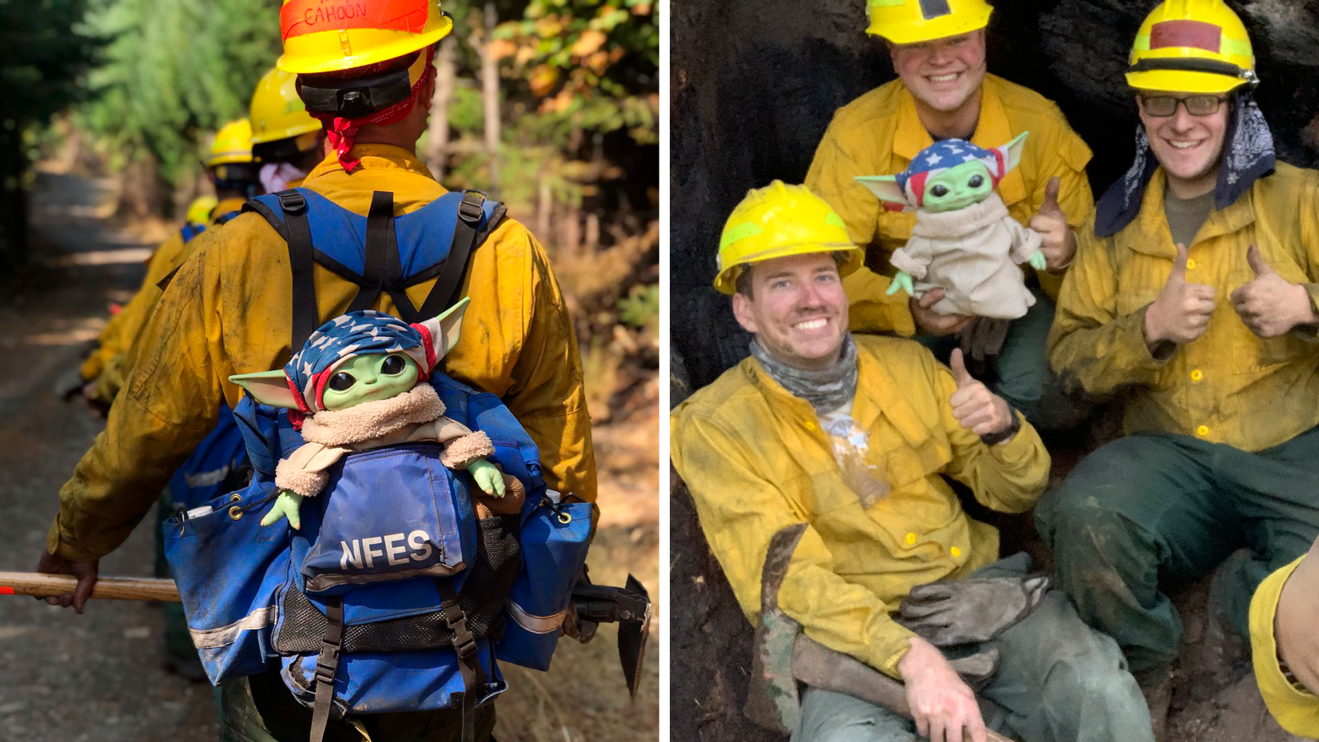 "A Baby Yoda doll, from the sci-fi series ""The Mandalorian,"" hitches a ride in the backpack of an Oregon Air National Guard firefighter on Sunday, Sept. 20, 2020 while fighting the Holiday Farm Fire in Blue River, Oregon. (Courtesy of Jaebyn Drake via AP) On the right,Lucas Galloway, from left, Jaebyn Drake, Rhett Schieder and Audrey Wilcox pose for a selfie with Baby Yoda on Sept. 20, 2020, while fighting the Holiday Farm Fire in Blue River, Oregon. (Courtesy of Audrey Wilcox via AP)"