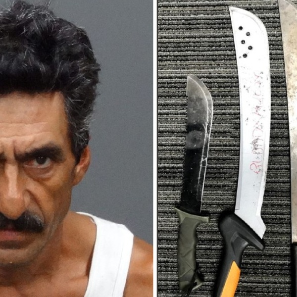 Fidel Esparza and machete knives recovered by detectives are seen in undated photos released by the Irwindale Police Department.