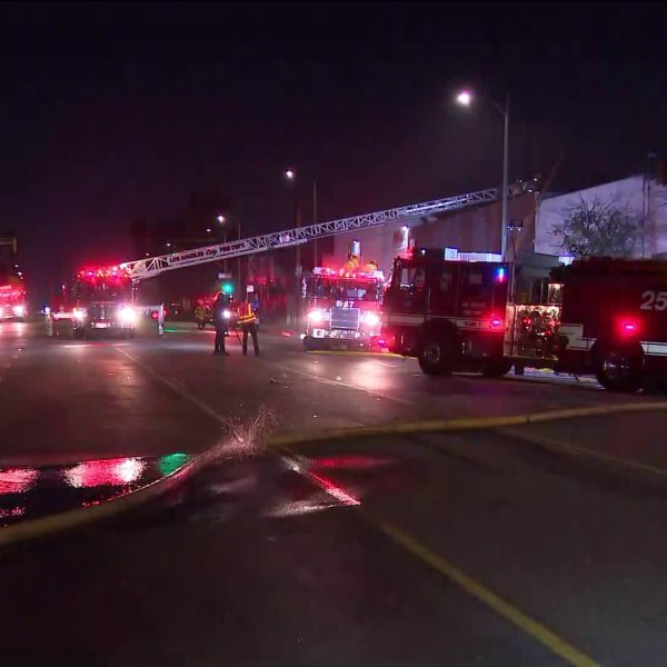 LAFD responded to a structure fire on Oct. 14, 2020 in Boyle Heights. (KTLA)