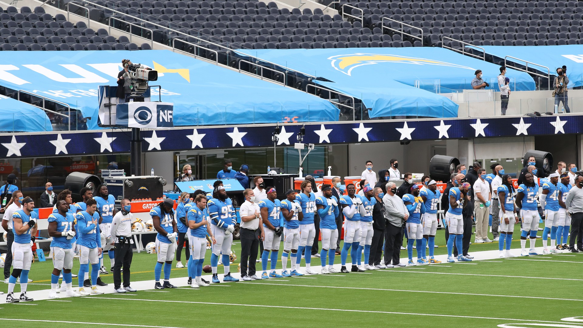 A general view of the Los Angeles Chargers are seen as the national anthem is played before taking on the Jacksonville Jaguars at SoFi Stadium on October 25, 2020 in Inglewood, (Katelyn Mulcahy/Getty Images)