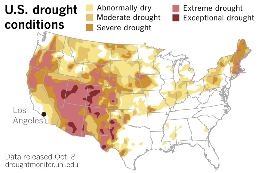A map illustrates data released by the U.S. Drought Monitor on Oct. 8, 2020. (Paul Duginski / Los Angeles Times)