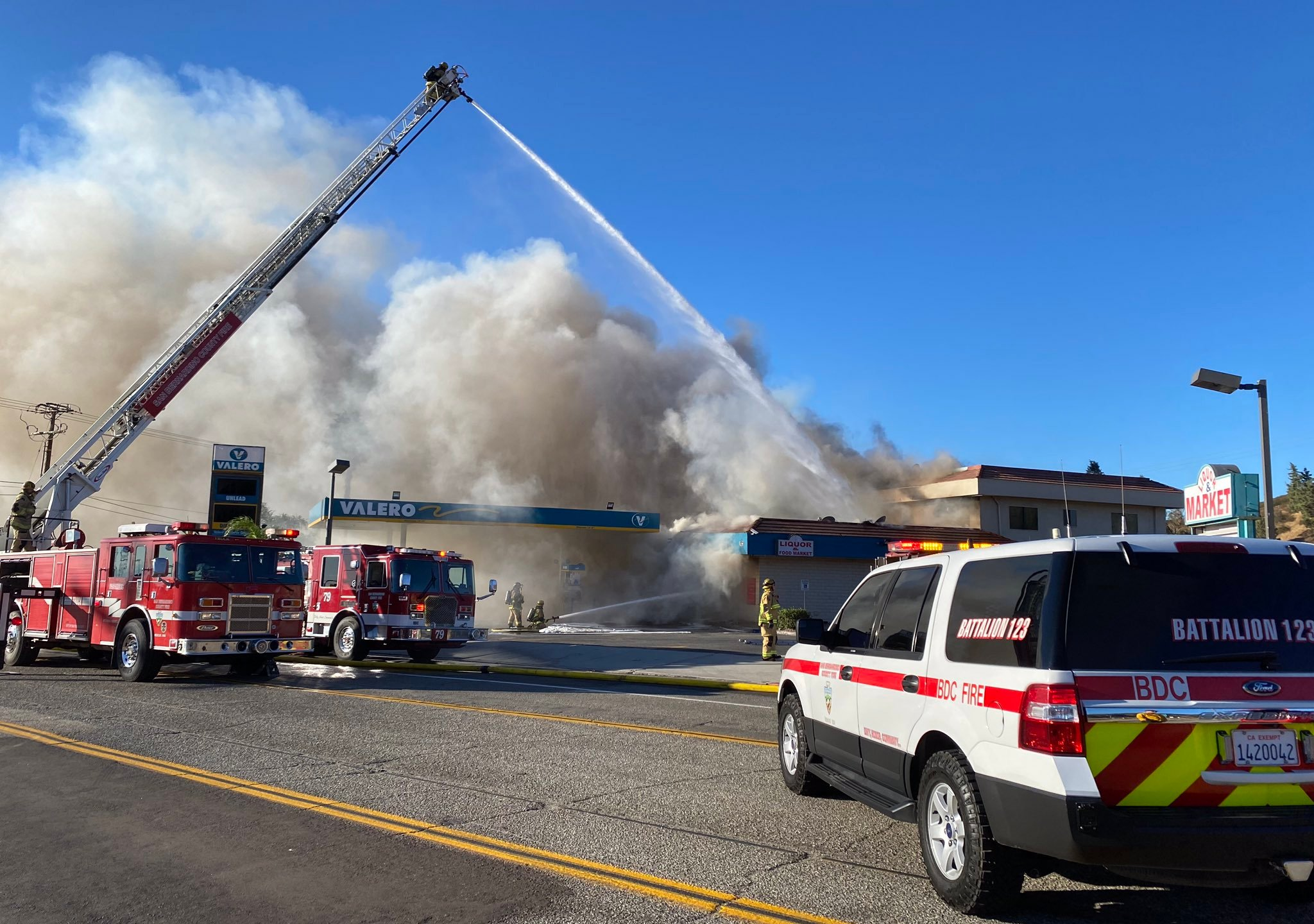 A fire broke out at a Fontana gas station on Oct. 30, 2020. (San Bernardino County Fire Department)