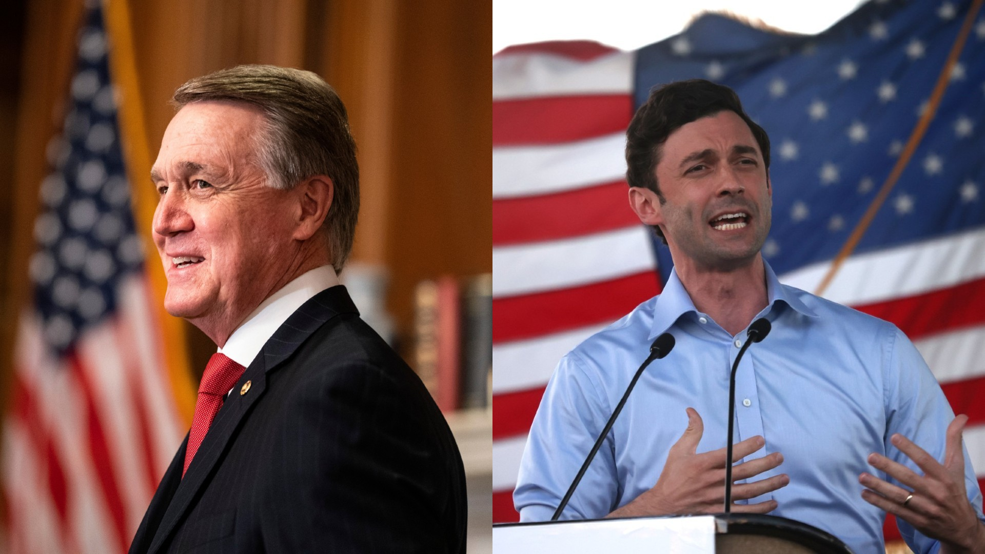 Sen. David Perdue, left, Democratic challenger Jon Ossoff, right. (AP Photo/Getty Images)