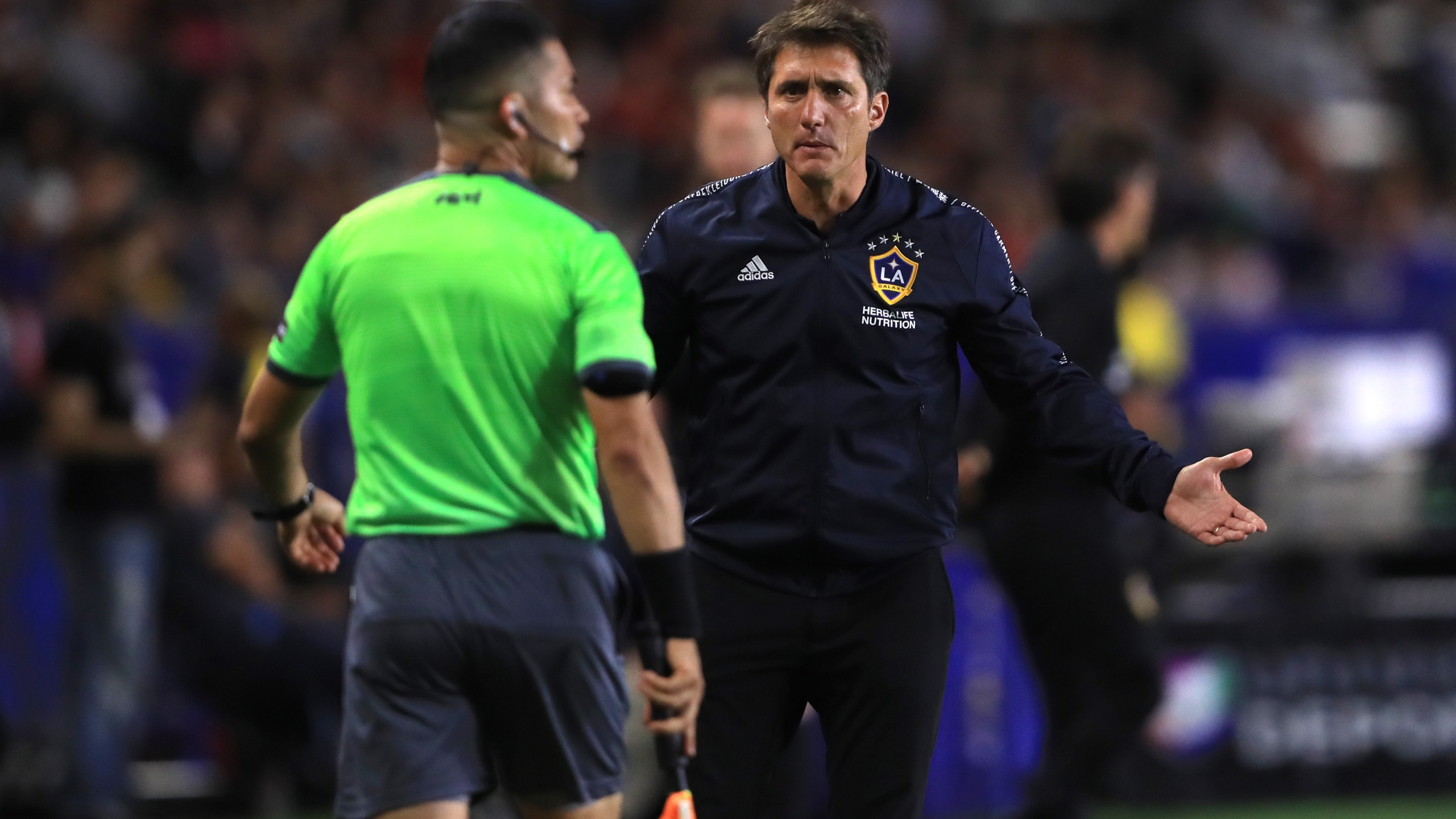 Manager Guillermo Barros Schelotto of the Los Angeles Galaxy disputes a call during the quarterfinal match of the 2019 Leagues Cup against Tijuana at Dignity Health Sports Park on July 23, 2019, in Carson, California. (Sean M. Haffey/Getty Images)