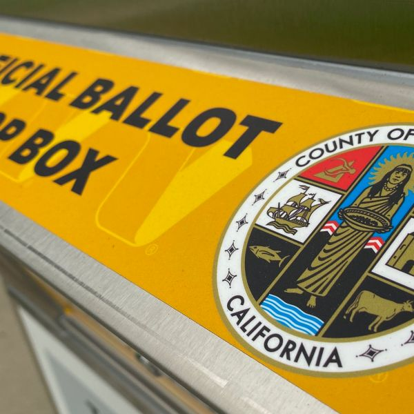 An official ballot drop box is set up in Los Angeles on Sept. 12, 2020, ahead of the Nov. 3 presidential elections. (CHRIS DELMAS/AFP via Getty Images)