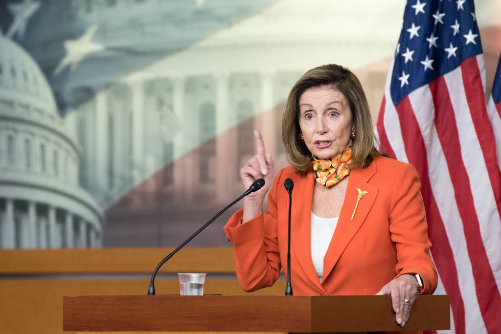 In this file photo, Speaker of the House Nancy Pelosi (D-CA) holds a weekly press conference at the Capitol on September 24, 2020 in Washington, DC. Pelosi paid tribute to Supreme Court Justice Ruth Bader Ginsburg saying the late justice will be the first woman as well as the first Jewish person to lay in state.tomorrow. (Photo by Liz Lynch/Getty Images)