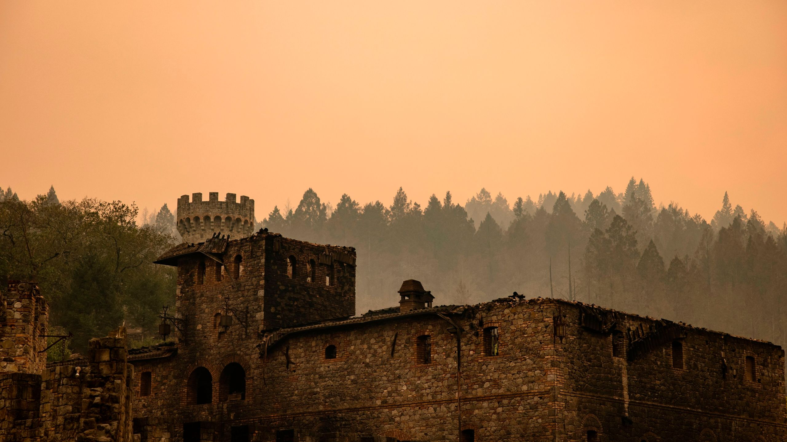 The Farm House at the Castello di Amorosa winery is seen gutted by the Glass Fire in Napa Valley on Sept. 29, 2020. (Samuel Corum / AFP / Getty Images)