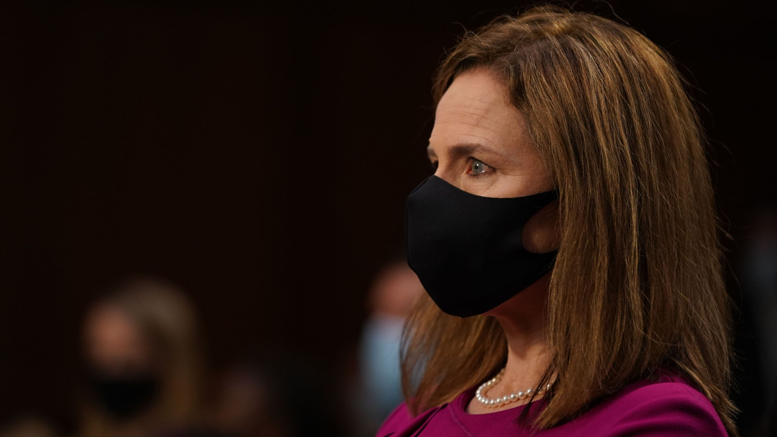 Amy Coney Barrett arrives for a confirmation hearing before the Senate Judiciary Committee, to become an Associate Justice of the US Supreme Court on Capitol, on Hill in Washington, DC on October 12, 2020. (ALEX EDELMAN/POOL/AFP via Getty Images)