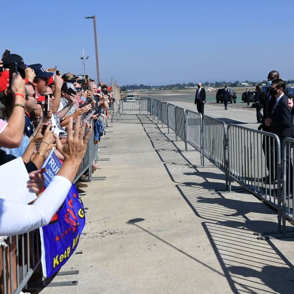 Donald Trump speaks to supporters after stepping off Air Force One upon arrival at John Wayne Airport in Santa Ana on Oct. 18, 2020. (MANDEL NGAN/AFP via Getty Images)