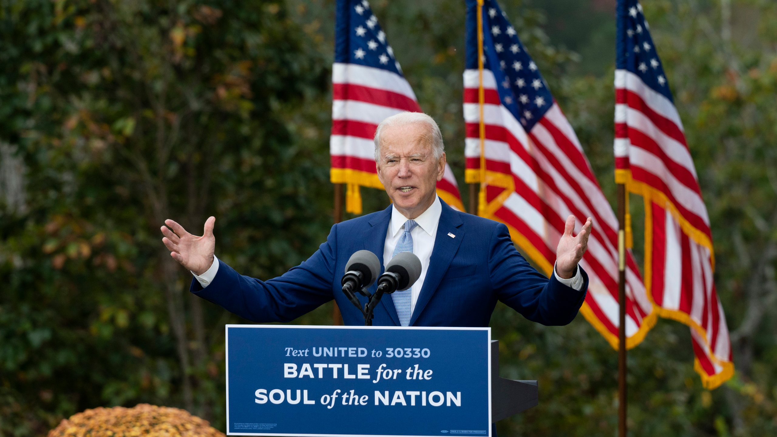 Democratic presidential candidate Joe Biden speaks at The Mountain Top Inn and Resort in Warm Springs, Georgia on Oct. 27, 2020. (JIM WATSON/AFP via Getty Images)