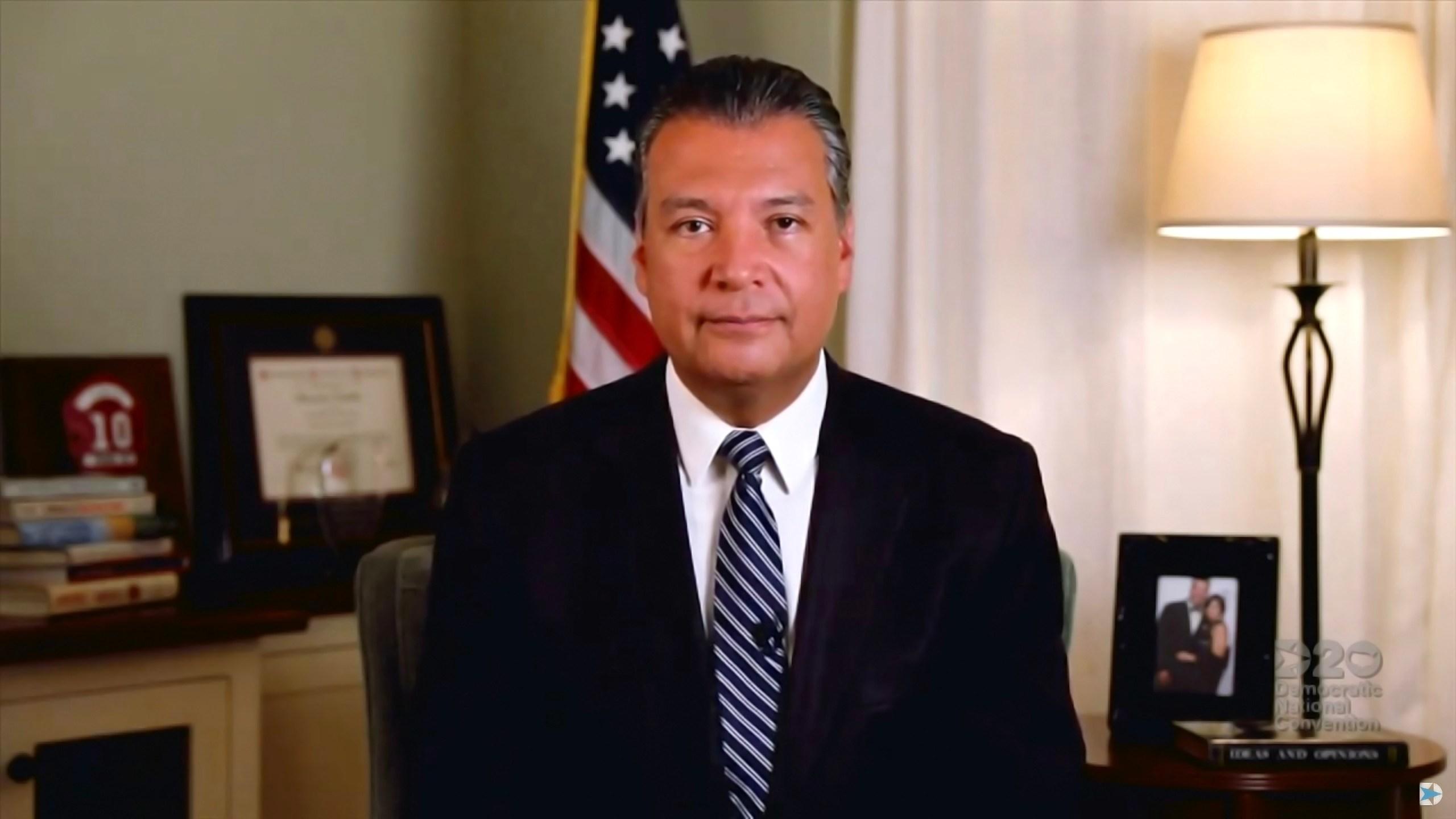 California Secretary of State Alex Padilla addresses the virtual convention on Aug. 20, 2020. (DNC via Getty Images)