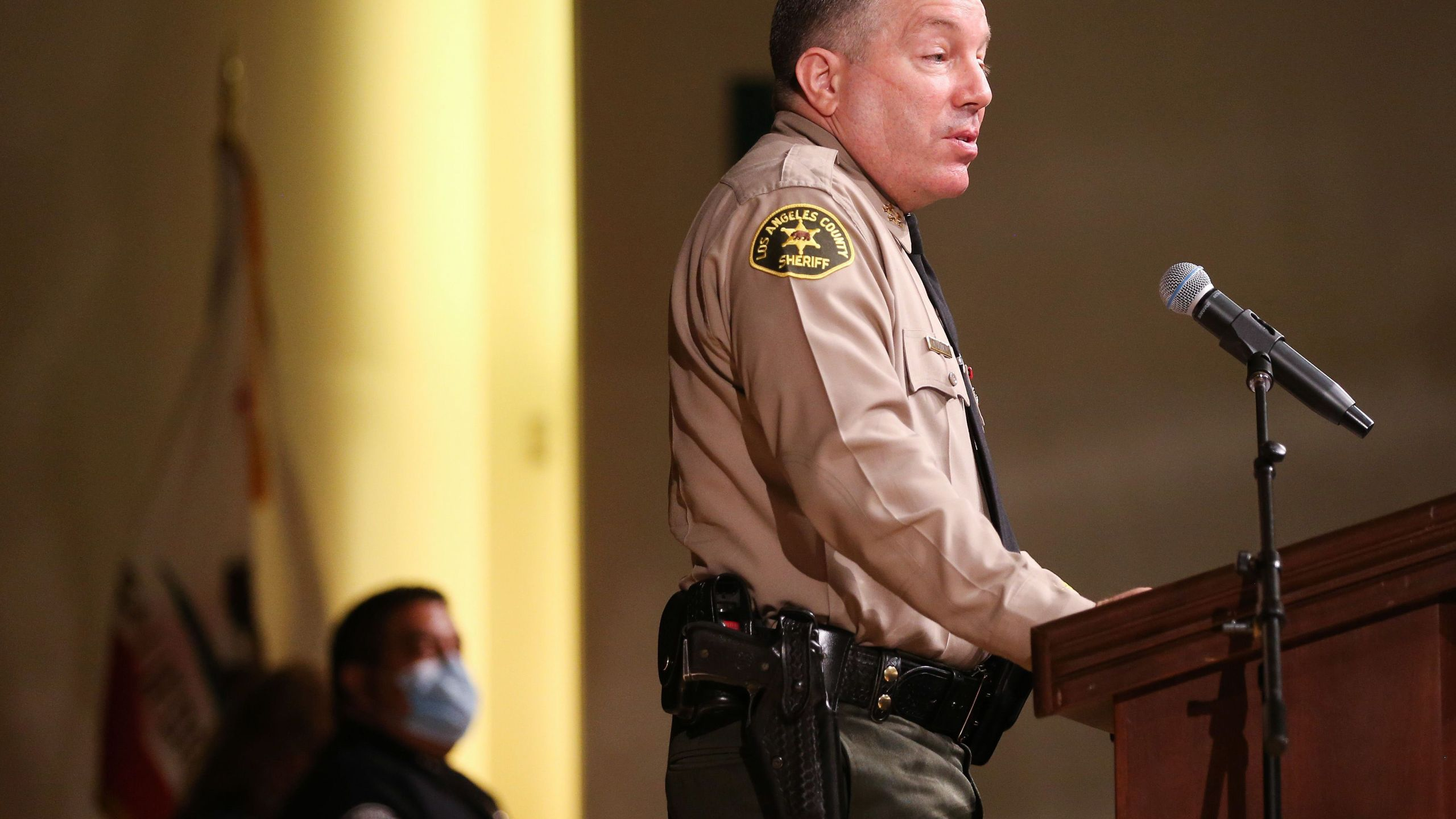 Los Angeles County Sheriff Alex Villanueva speaks at the graduation ceremony for Los Angeles County Sheriff's Department Academy Class 451 at East Los Angeles College amid the COVID-19 pandemic on August 21, 2020 in Monterey Park. (Mario Tama/Getty Images)